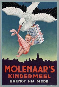 Molenaars Kindermeel by Belle Brocante, Vintage AD Vintage Packaging, Vintage Labels, Vintage Ephemera, Vintage Advertising Posters, Old Advertisements, Poster Vintage, Advertising Signs, Pub Vintage, Poster Ads
