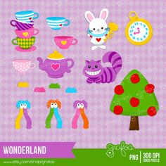 WONDERLAND Digital Clipart Alice in Wonderland ClipArt by grafos