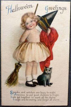 Vintage Halloween Postcard Wolf Little Girl Witch Kitten Good Condition | eBay
