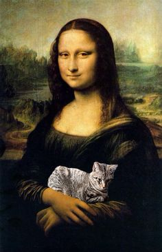 Mona Lisa holding a cat art