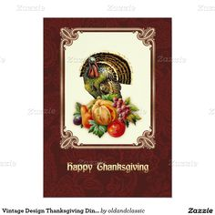 Happy Thanksgiving. Customizable Thanksgiving Celebration | Thanksgiving Dinner Invitations with a vintage Victorian age Turkey and Pumpkin postcard image. Matching Cards, Postage Stamps and other products available in the oldandclassic store at zazzle.com
