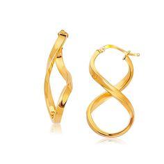 14K Yellow Gold Polished Infinity Shape Drop Earrings