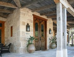 Reese Ranch Headquarters, South Texas rustic-porch - Home & DIY Texas Ranch Homes, Texas Style Homes, Ranch Style Homes, Italian Style Home, Mobile Home Exteriors, Double Doors Exterior, Hill Country Homes, House Entrance, Entrance Ideas