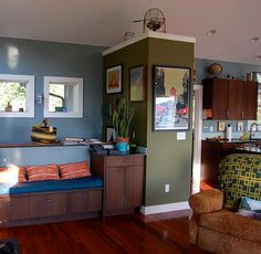 blue paint walls with green accent wall....I am dying to do a blue/green scheme in my house!