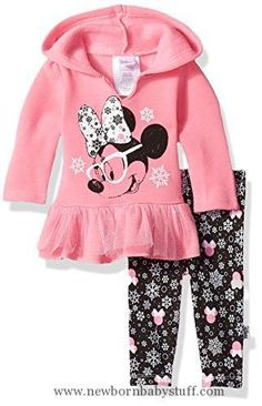 Baby Girl Clothes Disney Baby Girls' Minnie Mouse 2 Piece Hooded Top and Legging Set, Sachet Pink, 3-6 Months #babygirlbottoms