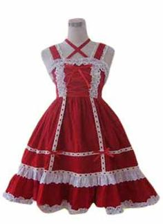 Red Lace Bandage Cotton Sweet Lolita Dress on www.ueelly.com