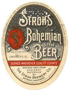 Vintage Stroh's Bohemian-style Beer label. PureDetroit.com