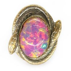 Vintage French Art Nouveau Snake Opalescent Glass Ring | Clarice Jewellery | Vintage Costume Jewellery