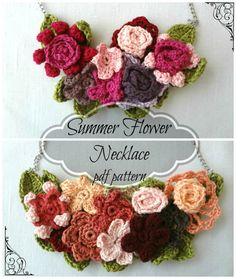 Summer Flower Crocheted Necklace PDF Pattern - Crocheted Necklace Tutorial - Crocheted flower necklace, anemone, Irish rosette, daisy