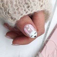 2019 Winter Manicure Trendy Winter Nail Art Design, Trends&Photo Ideas of . Winter Manicure Latest Fashion Winter Nail Art Design, Trends and Winter Nail Design Photo Ideas Easter Nail Designs, Easter Nail Art, Nail Art Designs, Cute Short Nails, Cute Nails, Pretty Nails, Gucci Nails, Bunny Nails, Animal Nail Art