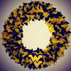 West Virginia Mountaineer Fabric Wreath!!  :)