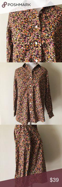 Liz Claiborne Floral Button Down Shirt Stunning floral button down shirt from Liz Claiborne. Size small petite. Perfect condition, like-new! Liz Claiborne Tops Button Down Shirts