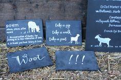 Custom chalk signs for goat farm wedding. chair backs, menu, poems, and take a sip, take a seat.