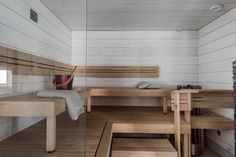 Tässä tilavassa saunassa on peräti kaksi kiuasta, joista toinen on puukiuas… Saunas, Dining Bench, Relax, Cottage, Bed, House, Furniture, Home Decor, Interiors