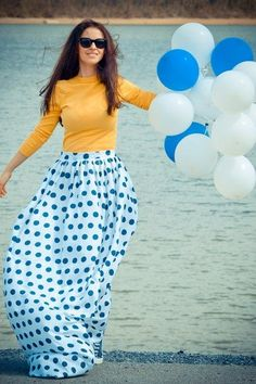 Love everything about this outfit!!!!! Colors, polka dots, full long skirt <3