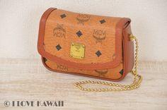 MCM Cognac Visetos PVC / Brown Leather Chain Shoulder Bag