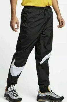 designer fashion d71c8 f0123 Nike Pants Men s Black White, Woven Giant Swoosh Casual AR9894-010 Size L  Large
