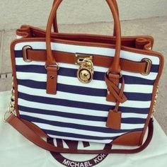 Michael Kors Striped Lock Large Navy Totes Outlet and hot sale for cheap....