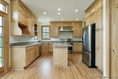 white granite countertops with light wood cabniets and wood floors | cabinets-traditional-light-wood-185-s48791101x2-small-island-sink-wood ...