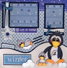 Winter Sledding Snow 2 Premade Scrapbook Pages Paper Piecing Scrapbooking Cherry | eBay