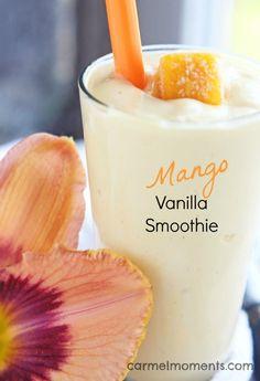 Mango Vanilla Smoothie -- ONLY 4 ingredients for this healthy drink | carmelmoments.com Mango Smoothie Healthy, Mango Smoothie Recipe Without Yogurt, Healthy Smoothie Ingredients, Mango Smoothie Recipes, Peach Mango Smoothie, Mango Milkshake, Frozen Fruit Smoothie, Yummy Smoothies, Mango Recipes Healthy