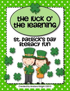 """The Luck O' the Learning  {St. Patrick's Day Literacy Fun}  This holiday pack includes themed literacy activities for St. Patrick's Day, such as songs for shared reading, a """"Beginning Biography"""" about St. Patrick, a holiday word search and writing activity, and a """"Making Words"""" activity.  18 pages, $"""