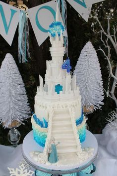 Ombre Frozen Cake with Castle on top! Talia's Frozen Winter Wonderland | CatchMyParty.com