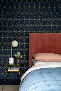 Wall Paper Bedroom Modern Art Deco New Ideas Art Deco Bedroom, Bedroom Wall Colors, Bedroom Bed Design, Home Bedroom, Modern Bedroom, Bedroom Decor, Bedroom Ideas, Bedrooms, Interior Design Masters