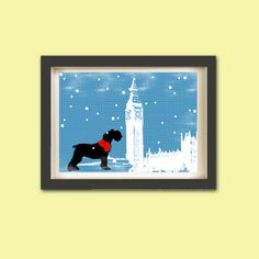 Schnauzer Dog in westminster abbey  Print  black color by ialbert, $30.00