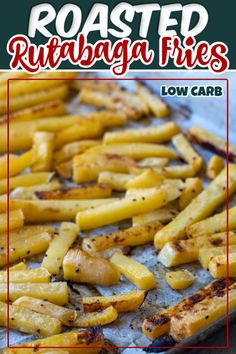 Healthy Sheet Pan Roasted Rutabaga Fries are much more flavorful than potatoes and perfect for low-carb and keto diets. If you haven't tried these, give them a go - you'll be amazed at the flavor! Low Carb Side Dishes, Side Dish Recipes, Easy Dinner Recipes, Low Carb Recipes, Cooking Recipes, Healthy Recipes, Whole30 Recipes, Healthy Options, Roasted Rutabaga