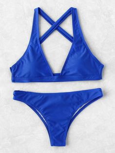 733acf6e5a ROMWE - ROMWE Plunge Neck Cross Back Bikini Set - AdoreWe.com Beachwear For  Women