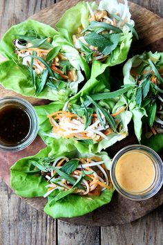 lettuce wraps with grilled chicken and all-purpose Thai peanut sauce
