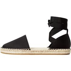 Lace-Up Satin Espadrilles (34 CAD) ❤ liked on Polyvore featuring shoes, sandals, laced sandals, lace up shoes, strappy sandals, espadrilles shoes and lace up espadrilles