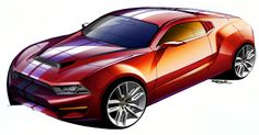 Red car sketch by Rob Jensen | Car Design Education Tips