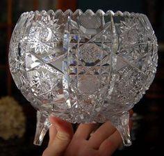 Vintage Centerpiece Crystal Rose Bowl Round Vase Cut Glass Round Vase Cut Glass And Crystal Rose