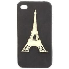 Eiffel Tower Charm Phone Case - 4 (35 BRL) ❤ liked on Polyvore featuring accessories, tech accessories, phone cases, phone, iphone, cases, black, black iphone headphones, cell phone headphones and apple iphone headphones