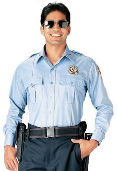 1762c4b9c4  29 free ship Police   Security Uniform Shirt Light Blue or White Long  Sleeve Work Shirts