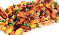 One Pan Roasted Chicken and Potatoes Recipe - Laura in the Kitchen - Internet Cooking Show Starring Laura Vitale Top Recipes, Potato Recipes, Chicken Recipes, Cooking Recipes, Delicious Recipes, Easy Recipes, Healthy Recipes, Garlic Potatoes Recipe, Roasted Chicken And Potatoes