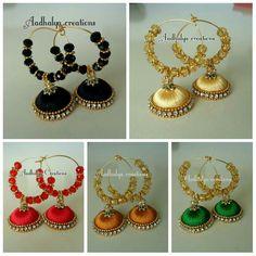 Silk Thread Earrings Designs, Silk Thread Jhumkas, Silk Thread Bangles Design, Silk Thread Necklace, Silk Bangles, Thread Bracelets, Beaded Jewelry Patterns, Fancy Jewellery, Thread Jewellery