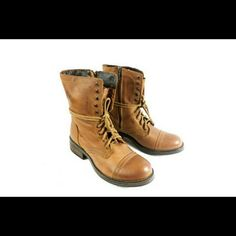 """Steve Madden Troopa2 Cognac Leather Boots NIB Thanks for viewing my listing. I take all my own pics. The boots are authentic and new in box. Boots have 1.5"""" heel. Steve Madden Shoes Ankle Boots & Booties"""