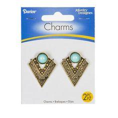 Aztec Geometric Charm Drops - Turquoise & Gold, 2pc