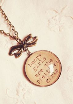 Audrey Hepburn Quote Necklace with Happy Girls