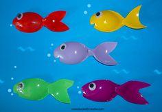 PESCI CON CUCCHIAI DI PLASTICA Pesci realizzati con cucchiai di plastica colorati. Pesci Materiale: cucchiai di plastica colorati occhi mobili forbici coll