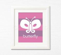 Butterfly Nursery Art Print i  8x10  Purple Nursery by pixelgecko, $14.90