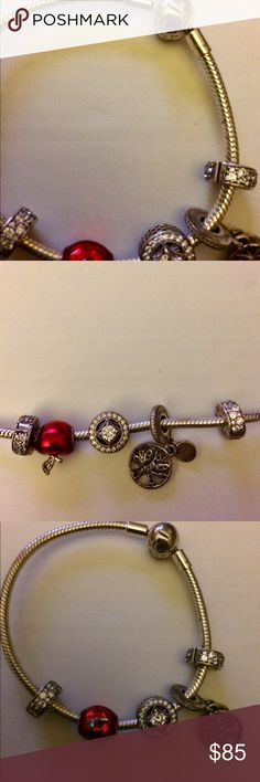Pandora bracelet ❤️ This bracelet is roughly 7 1/2 inches long authentic Pandora, charms come with it I received it as a gift and it was really always too small I really needed an eight so she's been sitting in my jewelry box I could really use a good cleaning that's why I'm offering as such a bargain deal✅ Pandora Jewelry Bracelets