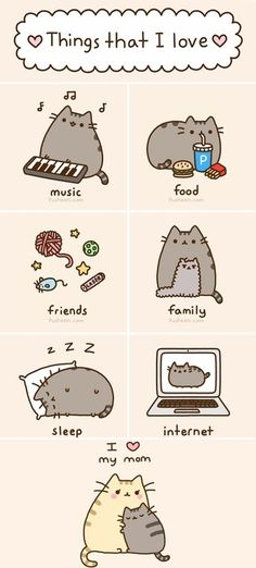 Things that pusheen love ! Pusheen the cat Gato Pusheen, Pusheen Love, Crazy Cat Lady, Crazy Cats, Pokemon, Nyan Cat, Fat Cats, I Love Cats, Cute Cartoon