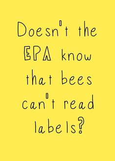The EPA recently announced that its plan to address the rapid decline in bee populations (which is a threat to our food supply) is to label bee-threatening pesticides. LABELS!!! Bees can't read labels! http://environmentalillnessnetwork.tumblr.com/post/58959508624/bees-cant-read-labels