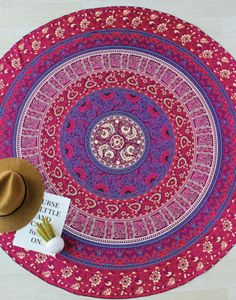 "Large Round Red & Purple Boho Wall Sheet Decor 57"""