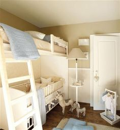 If you want to get really crazy. This is a great use of space!! Crib UNDER the bunk bed. ha.