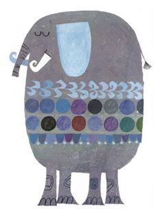 Retro elephant illustration - artist unknown.